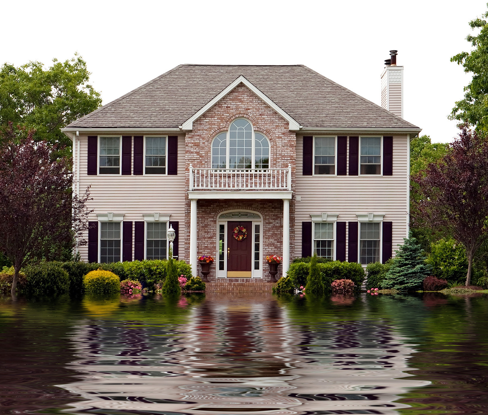 A flooded home with flood insurance
